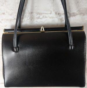 Vintage Black  Leather Elbief England handbag